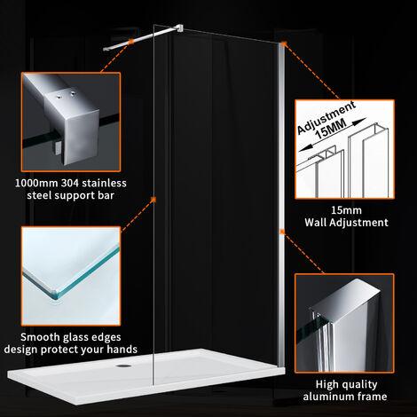ELEGANT 700mm Wet Room Shower Screen Panel 8mm Easy Clean Glass Walk in Shower Enclosure