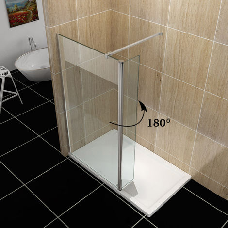 ELEGANT 700mm Wet Room Shower Screen Panel 8mm Easy Clean Glass Walk In Shower Enclosure with 300mm Flipper Panel