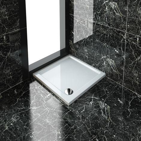 ELEGANT 760 x 760 x 40 mm Square Stone Shower Enclosure Tray + Waste Trap