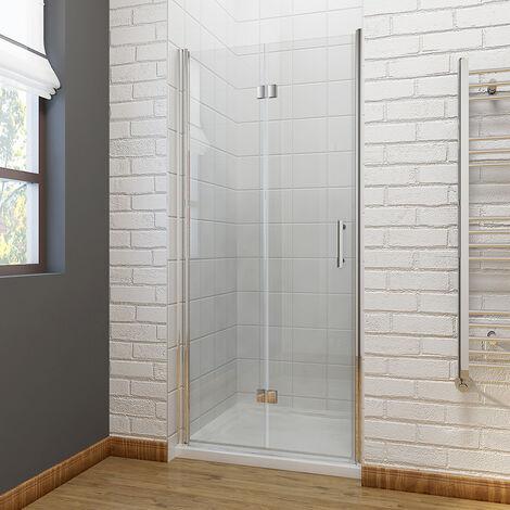 ELEGANT 760 x 900mm Bifold Shower Enclosure Glass Shower Door Reversible Folding Cubicle Door with Shower Tray