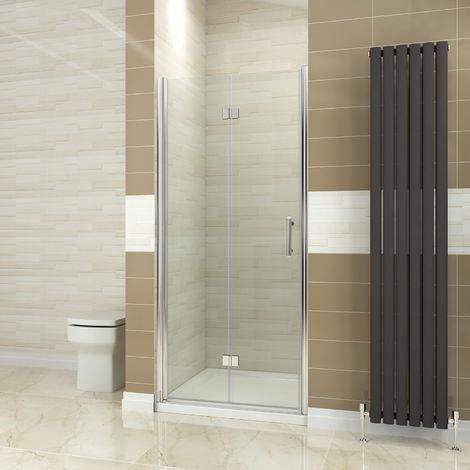 ELEGANT 760mm Bifold Shower Door Glass Shower Enclosure Reversible Folding Shower Door