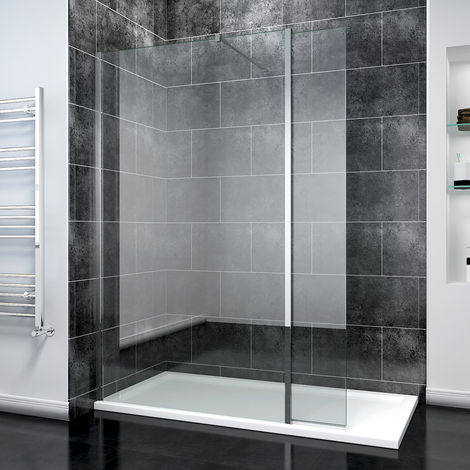 ELEGANT 760mm Easy Clean Glass Wetroom Shower Screen with 300mm Flipper Panel + 1400x700mm Stone Walk in Shower Enclosure Tray and Waste
