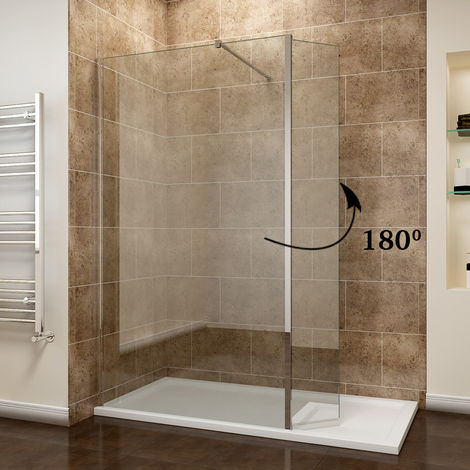 ELEGANT 760mm Easy Clean Glass Wetroom Shower Screen with 300mm Flipper Panel + 1600x760mm Stone Walk in Shower Enclosure Tray and Waste