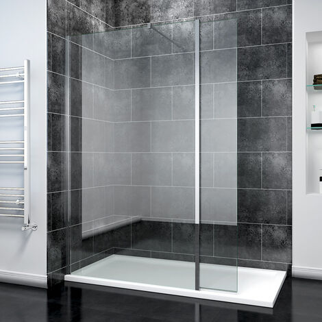 ELEGANT 760mm Easy Clean Glass Wetroom Shower Screen with Flipper Panel + 1400x900mm Stone Walk in Shower Enclosure Tray and Waste