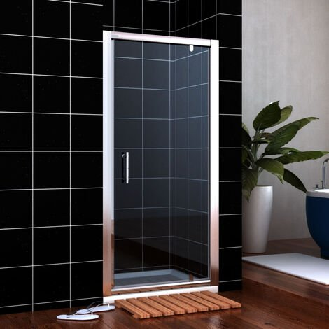 ELEGANT 760mm Pivot Hinge Shower Door 6mm Safety Glass Shower Enclosure Cubicle