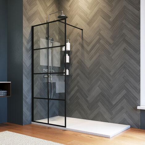 ELEGANT 760mm Stain Black Walk in Shower Door 8mm Safety Tempered Glass Bathroom Open Entry Shower Screen Reversible