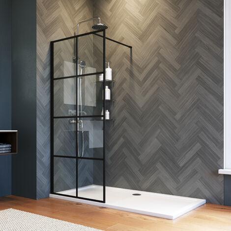 "main image of ""ELEGANT 760mm Walk in Shower Door Wet Room, Reversible Shower Screen Panel 8mm Safety Glass, Matte Black Walkin Shower Enclosure Cubicle with 1600x800mm Shower Tray"""