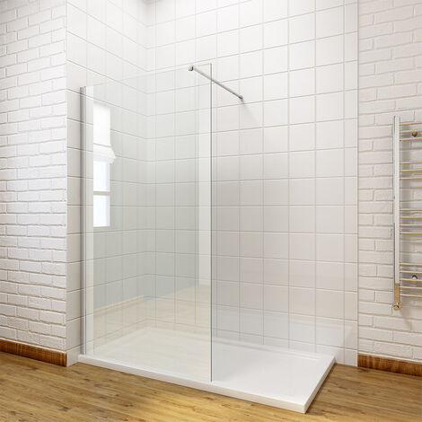 ELEGANT 760mm Walk in Shower Enclosure 8mm Easy Clean Glass Wet Room Shower Screen Panel with 1200x760mm Shower Tray + Waste