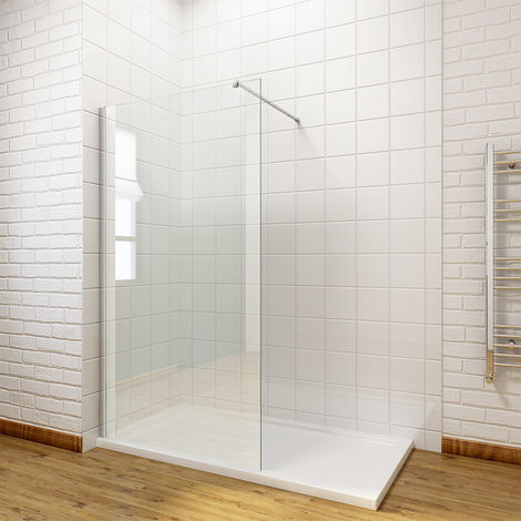 ELEGANT 760mm Walk in Shower Enclosure 8mm Easy Clean Glass Wet Room Shower Screen Panel with 1400x700mm Shower Tray + Waste