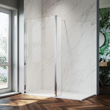 ELEGANT 760mm Walk in Shower Screen Glass Panel + 300mm Return Panel + 1700x700 mm Slip-Resistance Shower Tray, 8mm Easy Clean Glass Wet Room Shower Enclosure, 1900mm Height