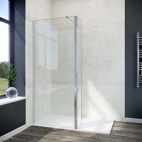 ELEGANT 760mm Walk in Shower Screen Glass Panel with 300mm Return Panel and 1400x700 mm Shower Tray, 1900mm Height,8mm Easy Clean Glass Wet Room Screen Panel Enclosure