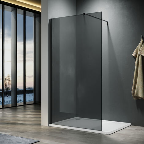 ELEGANT 760mm Walkin Shower Enclosure Bathroom 8mm Grey Safety Easy Clean Glass for Bath Wetroom Walk in Shower Cubicle Screen Panels + Black Stainless Steel Support Bars