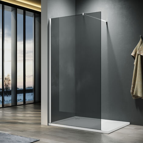 ELEGANT 760mm Walkin Shower Enclosure Bathroom 8mm Grey Safety Easy Clean Glass for Bath Wetroom Walk in Shower Cubicle Screen Panels + Chrome Stainless Steel Support Bars