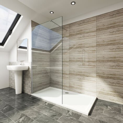 Elegant 760x1850 Walk-In 6mm Glass Shower Screen + 1200 x 900mm Shower Tray + Waste