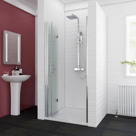 ELEGANT 800 x 1200 mm Bifold Shower Enclosure Glass Shower Door Reversible Folding Cubicle Door with Shower Tray