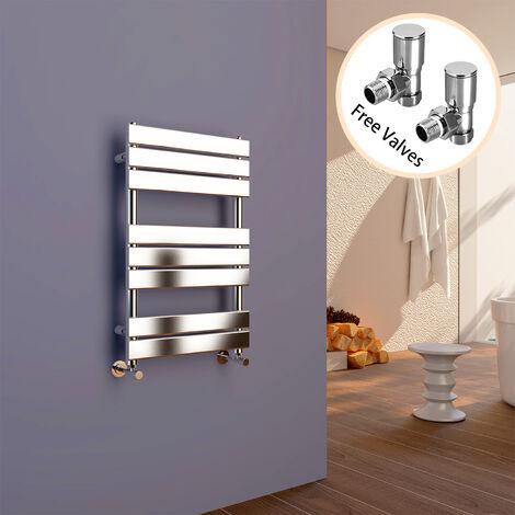 ELEGANT 800 x 500 Chrome Designer Flat Panel Towel Rail Radiator Bathroom Heated + Angled Radiator Valves