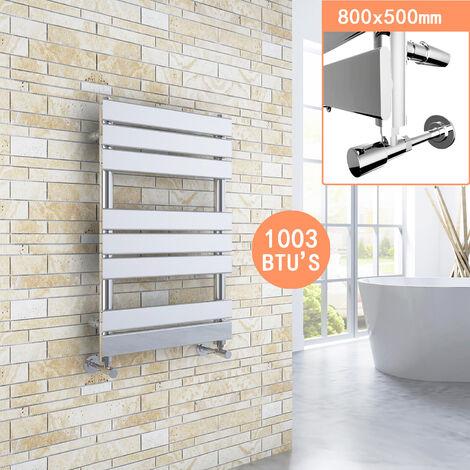ELEGANT 800 x 500 Chrome Designer Flat Panel Towel Rail Radiator Bathroom Heated + Chrome Thermostatic Radiator Valves