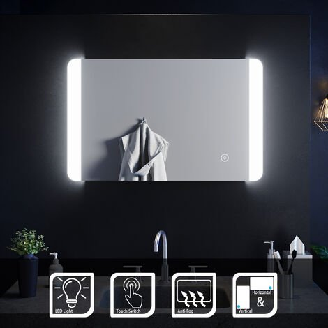 ELEGANT 800 x 500 mm Illuminated LED Bathroom Mirror Sensor Switch with Demister