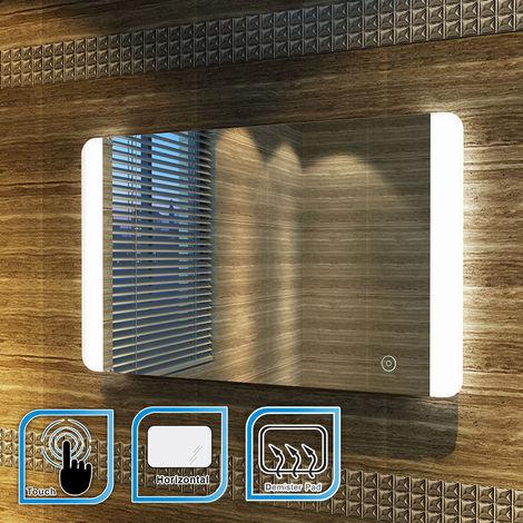 ELEGANT 800 x 500 mm Illuminated LED Bathroom Mirror Sensor Switch with Demister