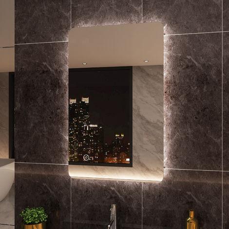 ELEGANT 800 x 500mm Backlit LED Illuminated Bathroom Mirror with Light Sensor + Demister