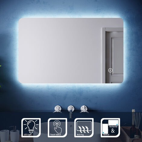 ELEGANT 800 x 500mm Backlit LED Illuminated Bathroom Mirror with Light Sensor + Demister