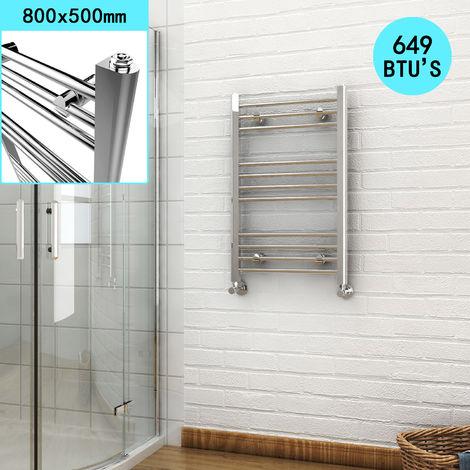 ELEGANT 800 x 500mm Chrome Heated Towel Rail Designer Bathroom Radiator