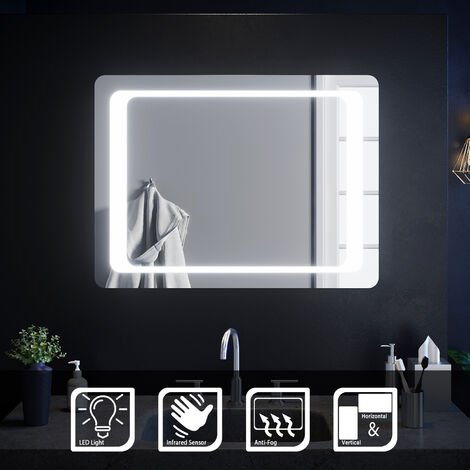ELEGANT 800 x 600 mm Illuminated LED Bathroom Mirror Light Infrared Sensor + Demister