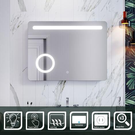 ELEGANT 800 x 600mm Anti-foggy Wall Mounted Mirror, Frontlit LED Illuminated Bathroom Mirror , 3 Times Magnifying