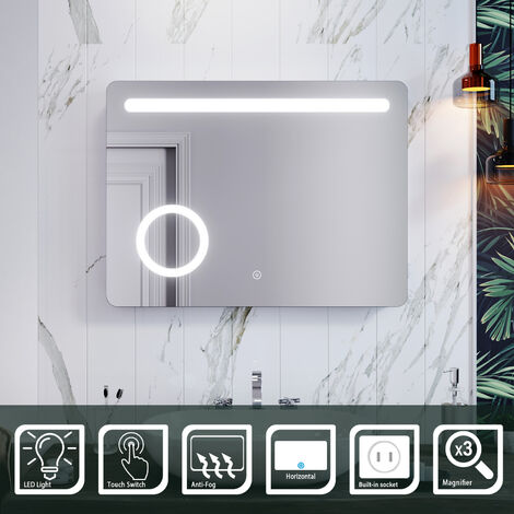 ELEGANT 800 x 600mm Anti-foggy Wall Mounted Mirror,Back-lit LED Illuminated Bathroom Mirror with 230V Shaver Socket, 3 Times Magnifying