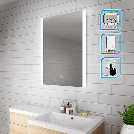ELEGANT 800 x 600mm Vertical Illuminated LED Bathroom Mirror Light Touch Sensor with Demister