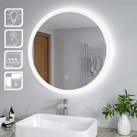 ELEGANT 800 x 800 mm Modern Round Illuminated LED Bathroom Mirror Touch Sensor + Demister