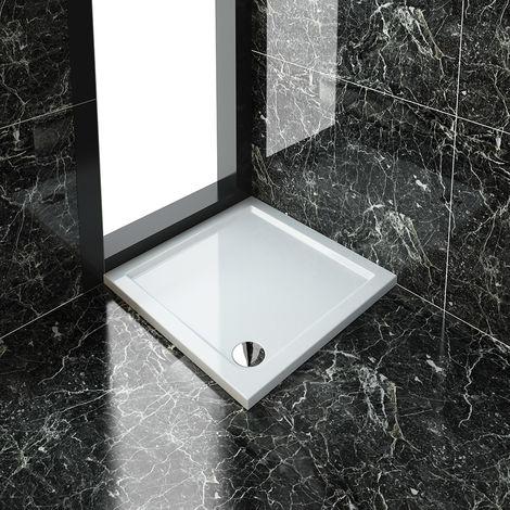 ELEGANT 800 x 800 x 40 mm Square Stone Tray + Waste Trap