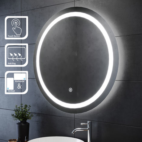 ELEGANT 800 x 800mm Round Illuminated LED Bathroom Mirror Touch Sensor + Demister