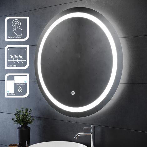 ELEGANT 800 x 800mm Round Illuminated LED Bathroom Mirror Touch Sensor + Demister