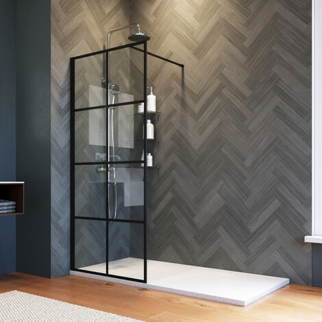 ELEGANT 800mm Stain Black Walk in Shower Door 8mm Safety Tempered Glass Bathroom Open Entry Shower Screen Reversible