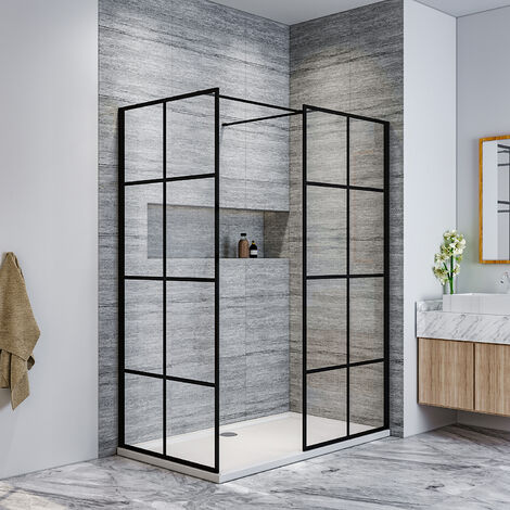 ELEGANT 800mm Walk in Shower Door Wet Room, 760mm Side panel, Reversible Shower Screen Panel 8mm Safety Glass, Matte Black Walkin Shower Enclosure Cubicle with 1400x760mm Shower Tray