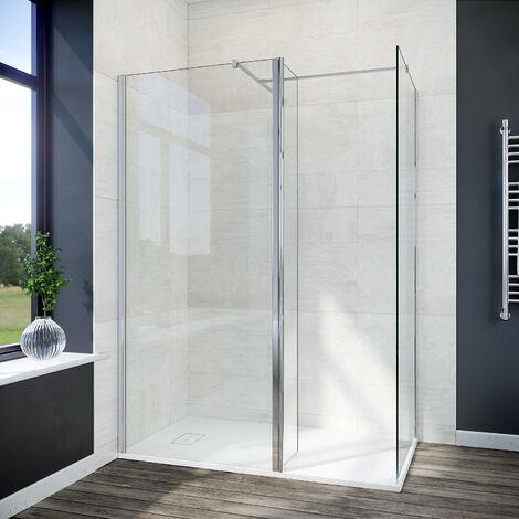 ELEGANT 800mm Walk In Shower Screen+ 300mm Return Panel+ 700mm Side Panel+ 1500x700mm Anti-Slip Resin Shower Tray