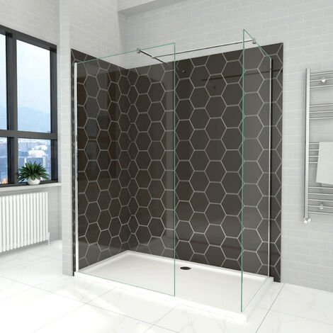 Elegant 800mm Walk in Shower Screen + 700mm Walk in Shower Screen, 6mm Tougheded Safety Wet Room