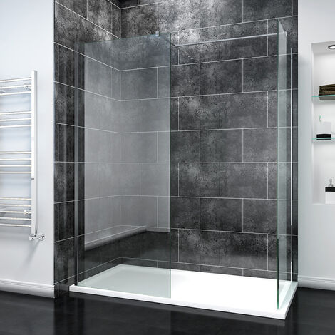 ELEGANT 800mm Walk In Shower Screen + 700mm Walk in Shower Screen, 8mm Easy Clean Glass Wetroom Shower Screen Panel