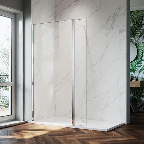 ELEGANT 800mm Walk in Shower Screen Glass Panel + 300mm Return Panel + 1700x800 mm Shower Tray, 8mm Easy Clean Glass Wet Room Shower Enclosure, 1900mm Height