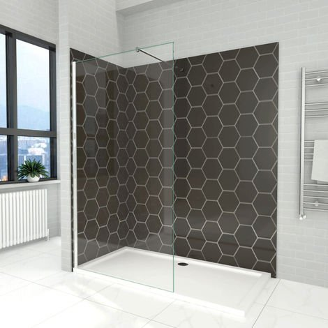 ELEGANT 800mm Wet Room Shower Enclosure Tempered Safety Glass Screen Panel with 900x1400mm Walk in Stone Shower Tray and Waste