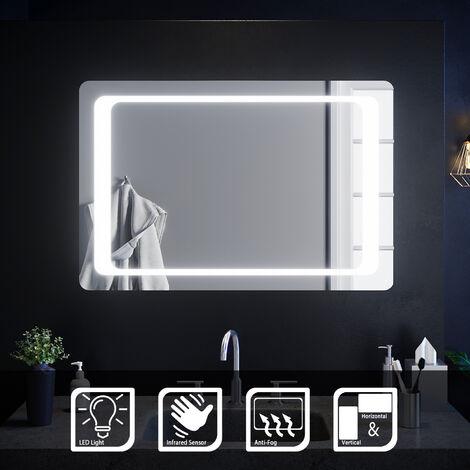 ELEGANT 900 x 600mm Backlit LED Illuminated Bathroom Mirror with Light Sensor + Demister
