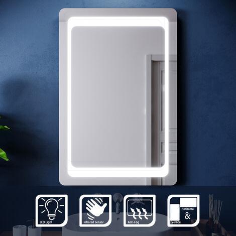 ELEGANT 900 x 600mm LED Illuminated Bathroom Mirror with Light Sensor + Demister, Backlit