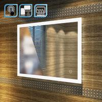 ELEGANT 900 x 700 mm Horizontal Vertical LED Illuminated Bathroom Mirror Light Touch Sensor + Demister