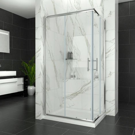 ELEGANT 900 x 700 mm Sliding Corner Entry Shower Enclosure Door Cubicle