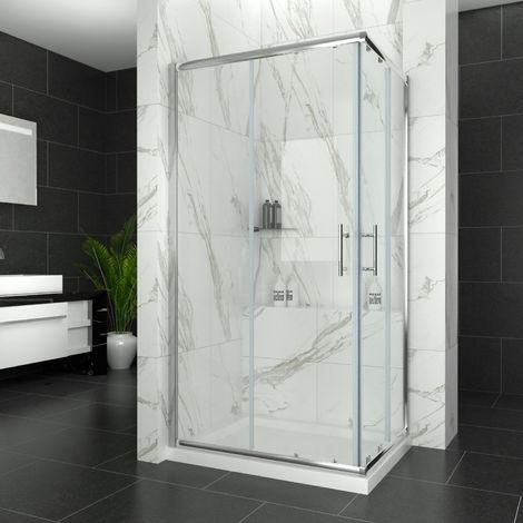 ELEGANT 900 x 700 mm Sliding Doors Shower Corner Entry Enclosure Cubicle with Stone Tray