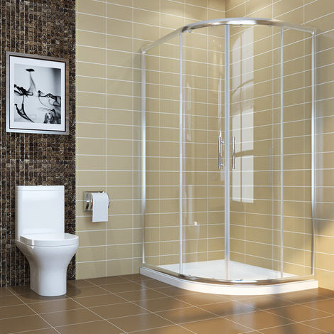ELEGANT 900 x 760 mm Right Quadrant Shower Enclosure 6mm Sliding Glass Cubicle Door with Tray + Waste