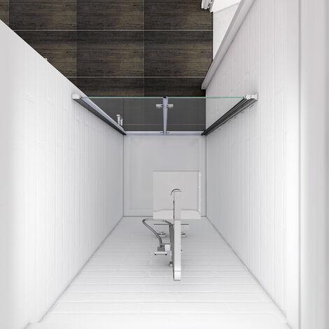 ELEGANT 900 x 760mm Bifold Shower Enclosure Glass Shower Door Reversible Folding Cubicle Door with Shower Tray
