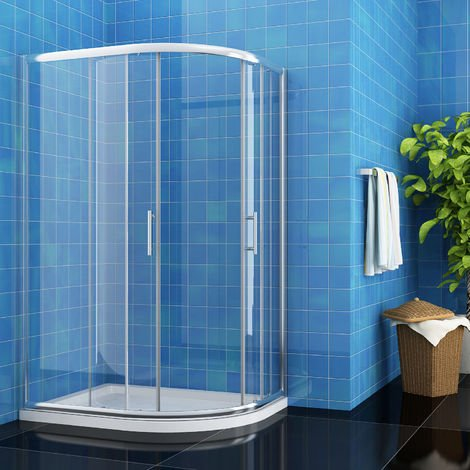 ELEGANT 900 x 800 mm Right Entry Quadrant Shower Enclosure 6mm Easy Clean Glass Sliding Door Shower Cubicle with Tray