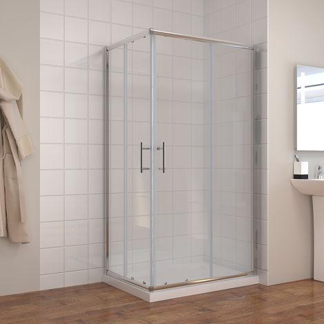 ELEGANT 900 x 800 mm Sliding Corner Entry Shower Enclosure Door Cubicle with Tray